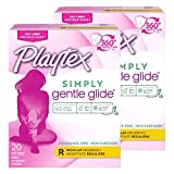 Playtex Gentle Glide Tampons with Triple Layer Protection, Regular , Unscented - 20 Count (Pack of 2)
