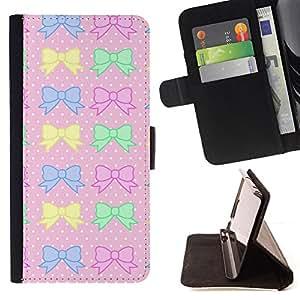 - Queen Pattern FOR Samsung Galaxy Note 4 IV /La identificaci????n del cr????dito ranuras para tarjetas tir????n de la caja Cartera de cuero cubie - polka dot pink yellow green bo