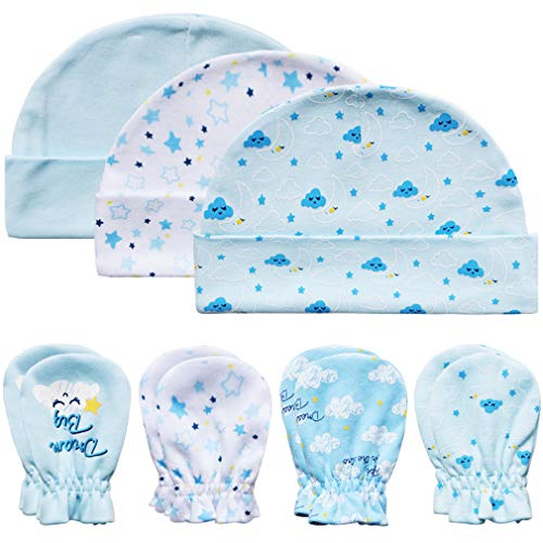 Baby Mittens and Caps Set Infant gloves and no scratch mittens Newborn Gift 7 Piece Set For Baby Boys Sky Blue 0-6 Months