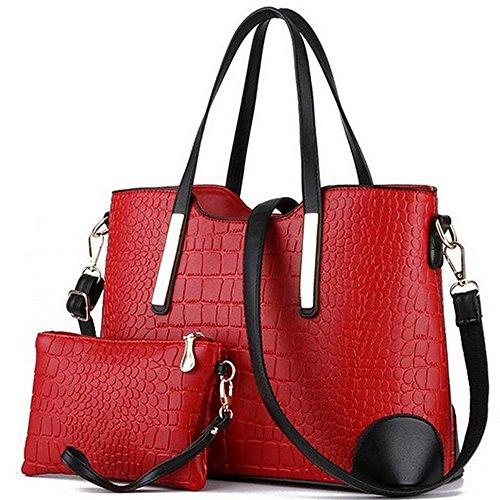 Vincico174; Women Shoulder Bag 2 Piece Tote Bag Pu Leather Handbag Purse Bags Set (Red) (Elegant Purse)