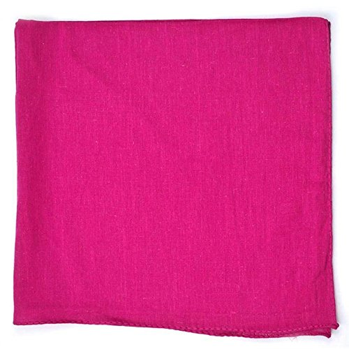 Set of 3 Solid 100% Polyester Unisex Bandanas Hot Pink 22 in