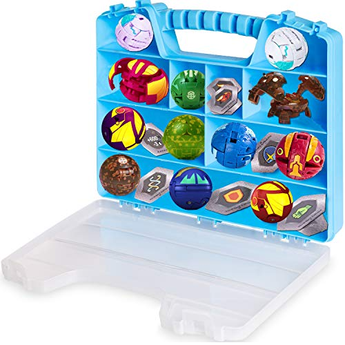 ASH BRAND Battle Figures Case Organizer Legit Carrying case Toy Box with Handle| Large Compartments| Fits Up to 15 Battle Figurines Creatures (up to 3 cm)| New & Improved Blue Storage Holder