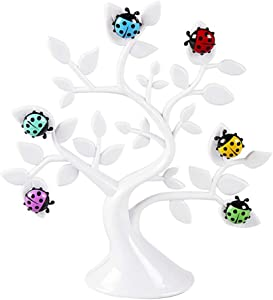 Newmag Creative Lucky Tree Ladybug Magnets Photo Clip Notes Messages Folder Fridge Refrigerator Microwave Magnetic Stickers with 6 Ladybug Magnet Clips for Home Office Decoration (White)