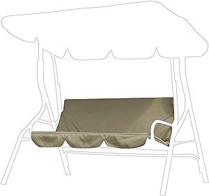 GOTOTOP Courtyard Garden Swing Hammock 3‑Seat Cushion Cover Waterproof Fabric Protection Cushion for Patio Courtyard Garden 59.1 x 19.7 x 3.9in(Beige)