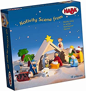 haba wooden nativity scene 18 piece heirloom quality set for play and display made - Wooden Nativity Set