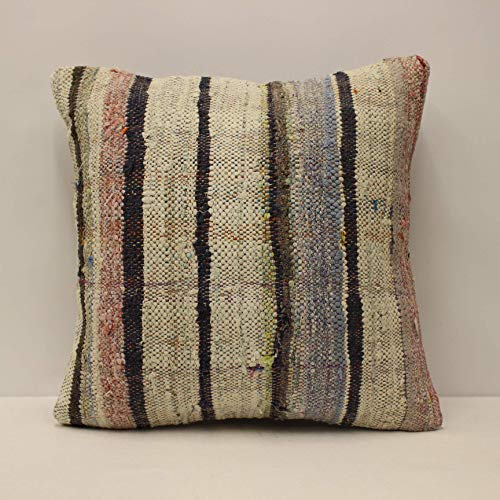 Bohemian Pillow 18x18 inches Decorative Pillow Anatolian Kilim Pillow Vintage Handmade Kilim Pillow Turkish Pillow Home Decor Pillow