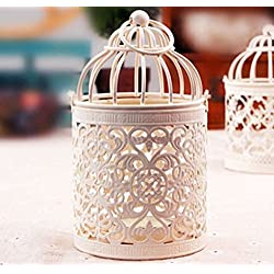 Yosoo Moroccan Lanterns Candle Stands Wedding Decor Votive White Birdcage Candle Holder Round Metal Hanging Wrought Iron Storm Lantern Home Centerpieces