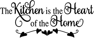 MOVANKRO The Kitchen is The Heart of The Home Wall Decal Quote Kitchen & Dining Room Vinyl Home Décor