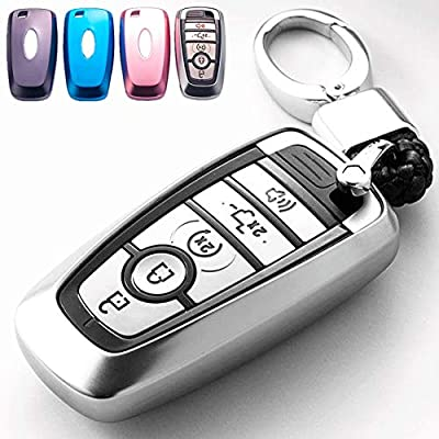 Mofei for Ford Key Fob Cover Case TPU Shell Protector Holder with Key Chain Compatible with 2020 2020 Ford Fusion F150 F250 F350 F450 F550 Edge Explorer Escape Mustang Remote Keyless Entry (Silver): Automotive