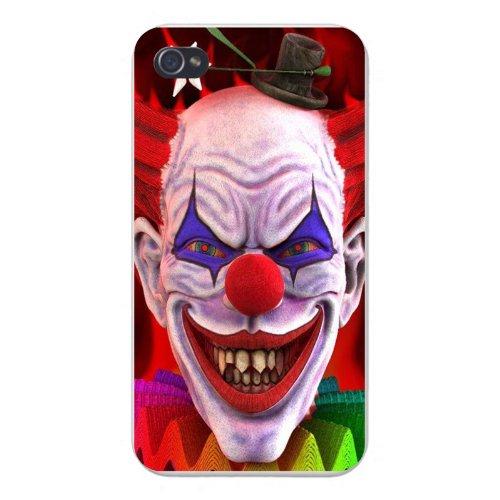 Apple Iphone Custom Case 4 4s White Plastic Snap on - Scary Evil Clown w/ Sharp Teeth Smiling Closeup -