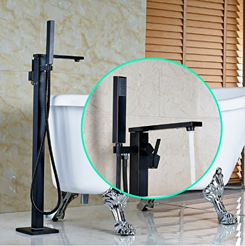 Gowe Luxury Oil Rubbed Bronze Finished Floor Mounted Bathtub Faucet with Handheld Shower