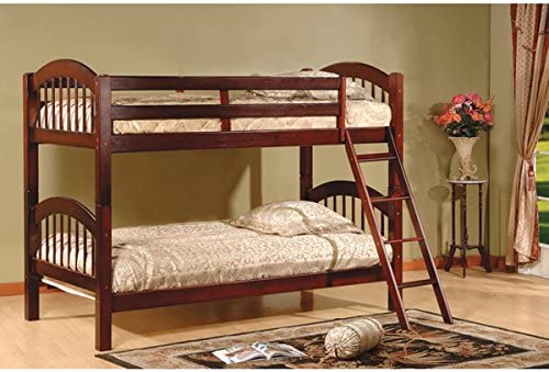 Twin Over Twin Bunk Beds – Cherry Finish, Constructed of Solid Hardwoods and Veneers