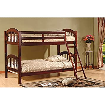 Amazon Com Twin Over Twin Bunk Beds Cherry Finish Constructed Of