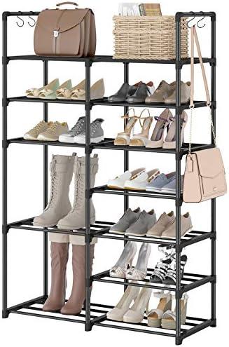 WOWLIVE 7 Tiers Shoe Rack Boots Storage Organizer Shoe Shelf Shoe Tower Unit Entryway Shelf Durable Metal Stackable Cabinet 25-30 Pairs 11 PP Gasket Black