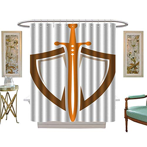 luvoluxhome Shower Curtains Mildew Resistant Shield Sword Guardian Logo Template Fabric Bathroom Set with Hooks W48 x L72