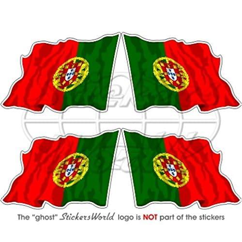 high-quality Portugal Portugais Saluant Drapeau République Portugaise 5,1cm (50mm) bumper-helmet en vinyle autocollants, Stickers x4