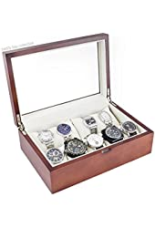 Caddy Bay Collection Vintage Wood Watch Case Holds 10+ Watches with Glass Top Lid and High Clearance for Large Watches