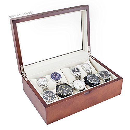 Caddy Bay Collection Vintage Wood Watch Case Holds 10+ Watches with Glass Top Lid and High for Large Watches