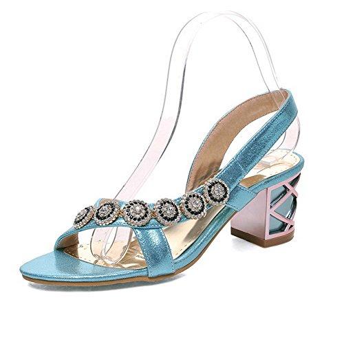 VogueZone009 Women's Pull On Kitten Heels Pu Solid Open Toe Sandals Blue 5DdOxbB