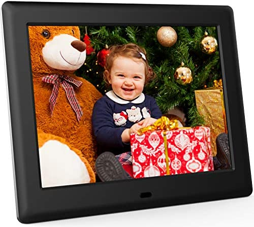 DBPOWER Digital Picture Frame 8 inch HD 4 3 1024×768 IPS LCD Screen Electronic Slideshow Photo Frame with Calendar Time – Support 32GB USB Drive, SD Card, Remote Control, Wall Mountable