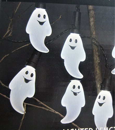 Wal-Mart 20 Ghost Lights Halloween Strand 7 Feet Long Black Wire, Indoor Use -