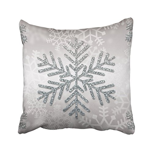Emvency Pillowcases Xmas New Year Holiday Snowflake  Decorative Cushion Cover Case Throw Pillow Cover Case Protectors Square 18x18 Inches One Side Sofa Couch