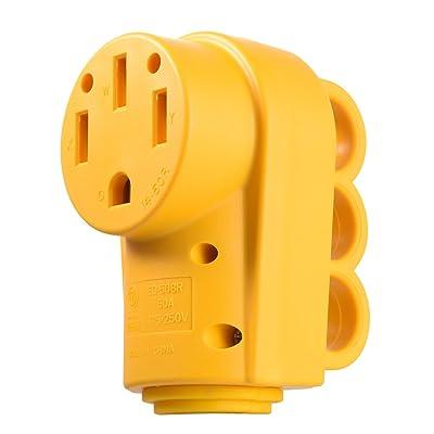 Snowy Fox RV 50 Amp Female Replacement Plug Heavy Duty Receptacle Plug with Ergonomic Grip Handle: Home Improvement