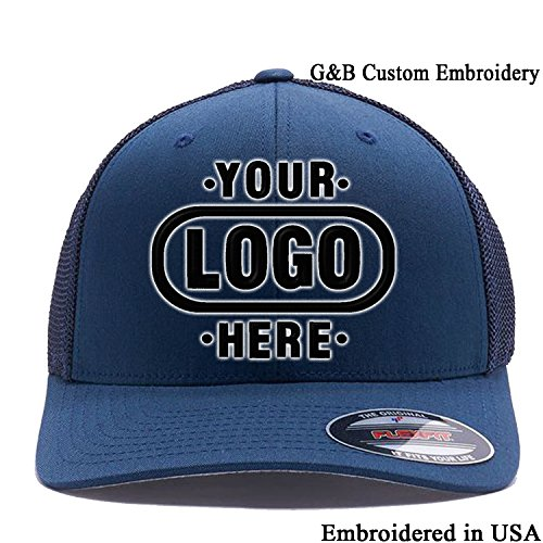 om Hat. 6511 Embroidered. Place Your Own Logo or Text (OSFA, Navy Mesh Flex) (Yupoong Flex Fit)