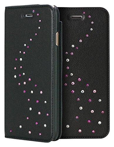 Bling-My-Thing iP7-pri-mw-pkm Milky Way Wallet Serie Luxuriöses und einzigartiges Design veredelt mit original Swarovski Kristallen, modisches Leder-Case für Apple iPhone 7 rose sparkles