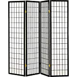 Coaster Home Furnishings Oriental Shoji 4 Panel Folding Privacy Screen Room Divider - Black