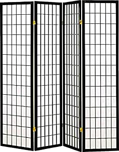 Coaster Home Furnishings Oriental Shoji 4 Panel Folding Privacy Screen Room Divider - Black