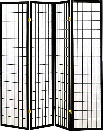 Coaster Oriental Style 4-Panel Screen Room Divider , Black Framed with White Panels