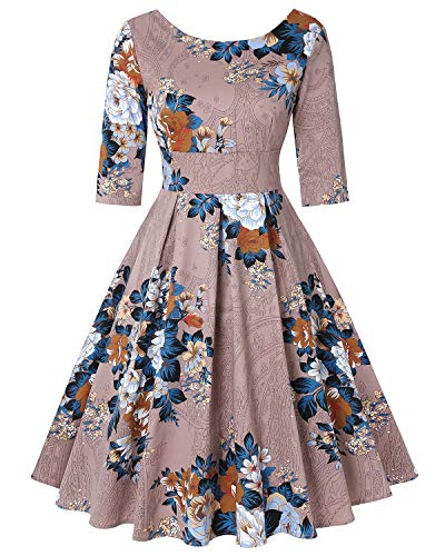 Women's Round Neck 3/4 Sleeve Autumn Elegant Midi Dress (Floral Khaki,Size S)