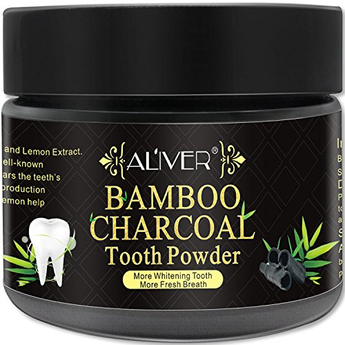 Activated Charcoal Teeth Whitening Powder 100% Natural Black Carbon Coconut with no Sensitivity for Tooth Whitening by Aliver (1.76 oz) by ALIVER