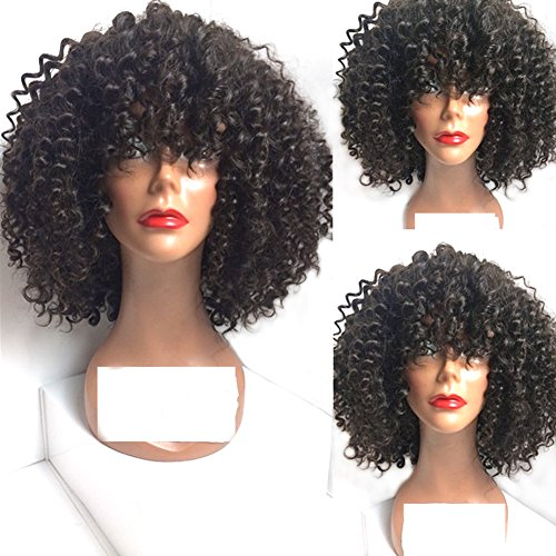 [Heat Resistant Synthetic Hair Wigs Italian Curl Short Bob None Lace Machined Wigs With Bang For Black] (Black Bob Wig With Bangs)
