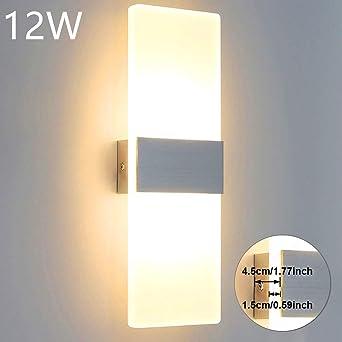 Glighone Apliques de Pared Interior LED 12W Lámpara de Pared Moderna Luz de Aluminio y Acrílico Luz en Moda Iluminación Interior para Salon, Dormitorio, Sala, Pasillo, Escalera, Blanco Cálido: Amazon.es: Iluminación