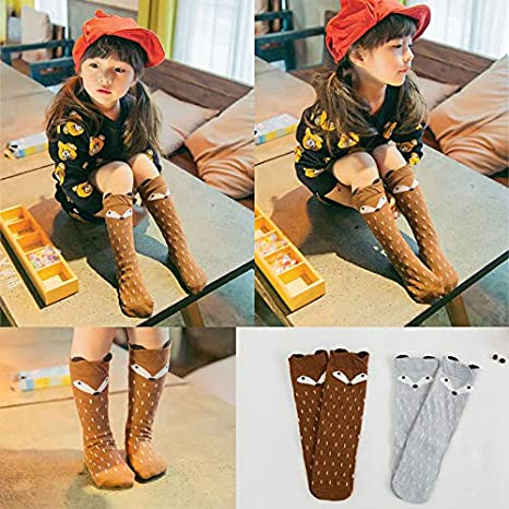 Baby Girls Fox Smiley Face Printed Tights Socks Cute Cartoon Animal Toddler Anti-Slip Short Leggings Stocking Pantyhose 1-5 and 4-9 Years Old for Indoor Outdoor