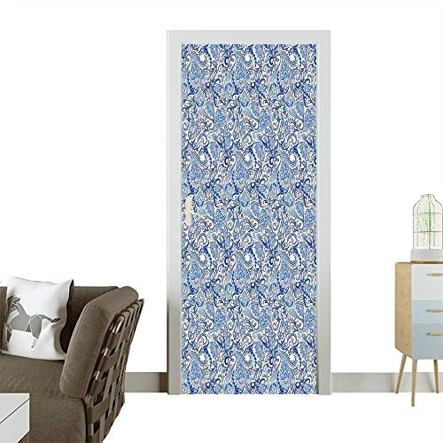 Homesonne Decorative Door Decal Ethnic Pattern and Tulip Flower Leaves Native Festive Design Accessories Navy Blue Stick The Picture on The doorW35.4 x H78.7 INCH -
