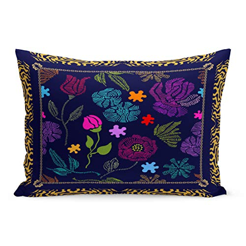60s Black Silk - Semtomn Throw Pillow Covers Colorful Border Spring Palette Silk Scarf Embroidered Flowers Retro Collection Black Green Artsy Pillow Case Cushion Cover Lumbar Pillowcase for Couch Sofa 20 x 30 inchs
