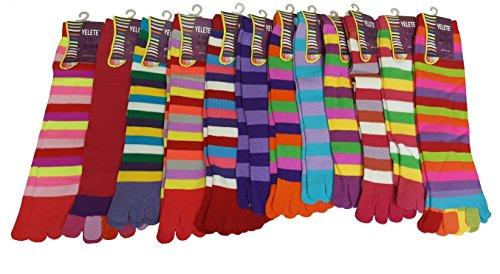 Multi Stripe Toe Socks (12 Pairs Pack Women Colorfull Multi Stripes Toe Socks TS03 (OS, 9-11))