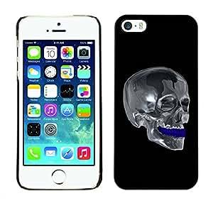 Caucho caso de Shell duro de la cubierta de accesorios de protección BY RAYDREAMMM - Apple iPhone 5 / 5S - Chrome Skull