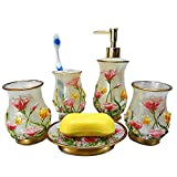 VICTORY,Home Fashions 5-Piece Resin Bath Accessory Set Soap ...