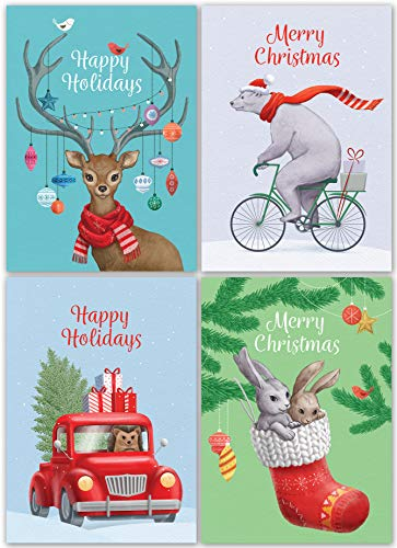 Vintage Santa Christmas Card - Christmas Cards Set - 24 Holiday Cards with Red Envelopes - 4 Funny Vintage Designs featuring Retro Winter Xmas Animals! Bulk Blank Greeting and New Years Cards