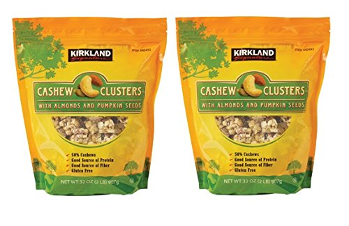 Kirkland Signature Cashew Clusters with Almonds and Pumpkin Seeds: 2 Bags of 32 Oz by Kirkland Signature