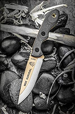 Tops Knives Mini Scandi Survival neck Knife Tan Blade MSK-SURV from TOPS Knives