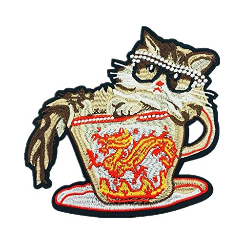 Qinlee Teacup Cat Animal Cloth Patch Pattern Applique Decorative Seam DIY Patch Jeans Coat Clothing Handbags Shoes Hat Sewing Flower Applique Patches for Jackets