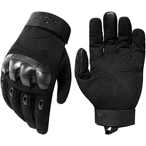 JIUSY Military Rubber Hard Knuckle Tactical Gloves Full Finger Airsoft Paintball Outdoor Army Gear Sports Cycling Motorcycle Riding Shooting Hunting Size Large Black