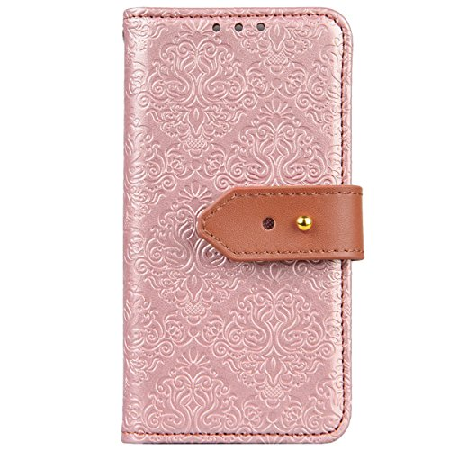 WE LOVE CASE iPhone SE / 5 / 5S Schutzhülle iPhone SE Hülle , iPhone 5S / 5 Lederhülle Im Retro Style Elegant Rosen Gold Muster Tasche Handytasche Backcover Stoßfest Protective Bumper Case Cover Brief