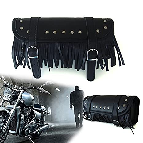 Addmotor Black Faux Leather Motorcycle Harley Tool Roll Saddle Front Fork Bags (Tassels)