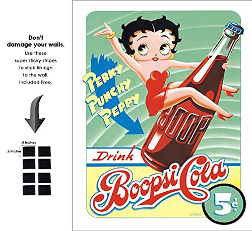 Shop72 - Betty Boop Funny Poster Tin Sign Boopsie Cola Classic Hollywood Funny Cartoon Tin Sign - with Sticky Stripes No Damage to - Betty Boop Pictures